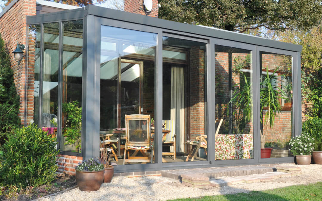 a glass wall veranda